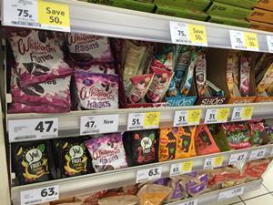 Healthy snacks on shelf