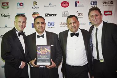 L-r: Bestway sales director Tony Holmes with store owners Pinda and Paul Cheema and Nisa regional retail manager Andrew Rutter